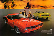 Muscle Car Mopar 1973 Dodge Digital Art - 1971 Plymouth Barracuda by Digital Repro Depot