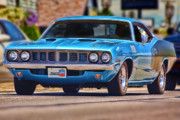 Blue Digital Art Originals - 1971 Plymouth Cuda 383 by Gordon Dean II