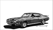 Ink Wash Prints - 1971 Pontiac GTO Print by Jack Pumphrey
