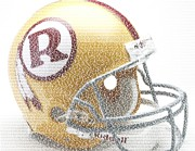 Redskins Posters - 1971 Redskins Helmet Greatest Players Mosaic Poster by Paul Van Scott