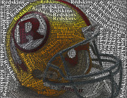 Redskins Posters - 1971 Redskins Helmet Words Mosaic Poster by Paul Van Scott