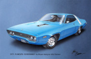 Blue Thunderbird Posters - 1971 ROADRUNNER Plymouth muscle car sketch rendering Poster by John Samsen