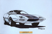 Automotive Drawings - 1972 BARRACUDA  Cuda Plymouth vintage styling design concept sketch  by John Samsen