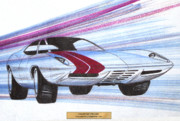 Vintage Car Drawings Posters - 1972 BARRACUDA  vintage styling design concept sketch Poster by John Samsen