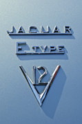 Jaguar E Type Photos - 1972 Jaguar E-Type V12 Roadster Emblem by Jill Reger