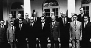 Us President Prints - 1972 Nixon Cabinet.  From Left, Front Print by Everett