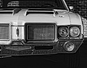 Black Top Digital Art Prints - 1972 Olds 442 Black and White  Print by Gordon Dean II
