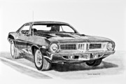 Fine Art Drawing Prints Drawings Originals - 1972 Plymouth Barracuda by Daniel Storm