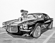 Fine Art Drawing Prints Drawings Originals - 1973 Camaro Z28 by Daniel Storm