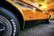 Orange Digital Art Originals - 1973 Ford Mustang by Gordon Dean II