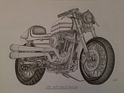 Ford Truck Drawings - 1973 Harley-Davidson XRTT by Pete Giffen