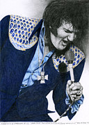 Elvis Drawings - 1975 Dark Blue Two Piece Suit Blue Gold Ornaments by Rob De Vries
