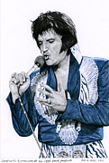 Elvis Drawings - 1975 White Phoenix Suit by Rob De Vries