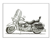 Head Drawings Prints - 1976 Harley Davidson FLN Print by Jack Pumphrey