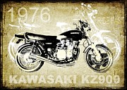 Kawasaki Framed Prints - 1976 Kawasaki KZ900 Motorcycle Framed Print by Heather Saulsbury