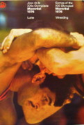 Wrestling Painting Originals - 1976 Montreal Olympic Vintage Poster WRESTLING by COJO Official Olympic Organizing Committee