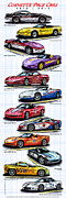 Indy Car Framed Prints - 1978 - 2008 Indy 500 Corvette Pace Cars Framed Print by K Scott Teeters