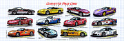 Corvette Art Print Digital Art - 1978 - 2008 Indy 500 Pace Car Corvettes by K Scott Teeters