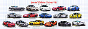 Sports Art Digital Art Posters - 1978 - 2011 Special Edition Corvettes Poster by K Scott Teeters