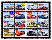Championship Drawings Posters - 1978 - 2013 Special Edition Corvette Postage Stamps Poster by K Scott Teeters