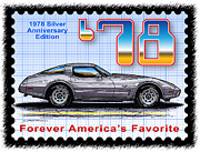 Corvette Postage Stamps Series - 1978 Silver Anniversary Edition Corvette by K Scott Teeters