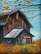 Old Barn Paintings - 1980 Barn by Linda Simon