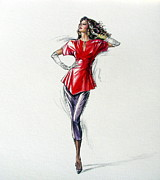 Long Gloves Painting Posters - 1980s Female Fashion Model In Red Poster by Sharon Barner