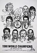 Nba Posters - 1981 Boston Celtics Championship newspaper Poster Poster by Dave Olsen