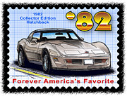 Corvette Postage Stamps Series - 1982 Collector Edition Hatchback Corvette by K Scott Teeters
