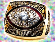 Cities Jewelry Prints - 1982 Redskins Super Bowl Ring Print by Paul Van Scott