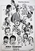 Nba Champions Drawings Prints - 1984 Boston Celtics Championship Newspaper Poster Print by Dave Olsen