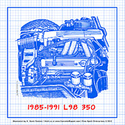 Corvette Engine Blueprints - 1985 - 1991 L98 Fuel-Injected Corvette Engine Blueprint by K Scott Teeters