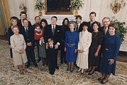 Reagan Framed Prints - 1985 Inaugural Family Photo From Left Framed Print by Everett