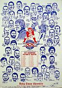 Champions Drawings Framed Prints - 1985 New England Patriots Superbowl newspaper Poster Framed Print by Dave Olsen