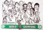 Champions Drawings Framed Prints - 1986 Boston Celtics Championship newspaper Poster Framed Print by Dave Olsen