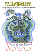 1986 Collectors Edition Poster Featuring Upside Down Art By Masg Artist L R Emerson II Print by L R Emerson II