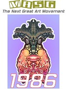 Digigrpah Paintings - 1986 Masg Art Collectors POster by Upside Down Artist L R Emerson II by L R Emerson II