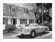 Pen And Ink Framed Prints Prints - 1986 Rolls Royce Corniche Print by Jack Pumphrey