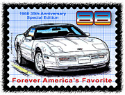 Corvette Postage Stamps Series - 1988 35th Anniversary Special Edtion Corvette by K Scott Teeters