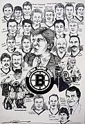 Nhl Hockey Drawings Prints - 1988 Boston Bruins Newspaper Poster Print by Dave Olsen