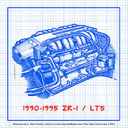 Corvette Drawings - 1990-1995 C4 ZR-1 LT5 Corvette Engine Blueprint by K Scott Teeters