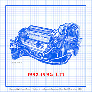 Corvette Drawings - 1992-1996 LT1 Corvette Engine Blueprint by K Scott Teeters