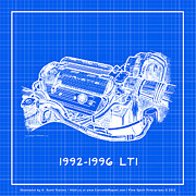 Corvette Drawings - 1992-1996 LT1 Corvette Engine Reverse Blueprint by K Scott Teeters