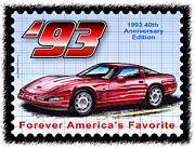 Corvette Postage Stamps Series - 1993 40th Anniversary Edition Corvette by K Scott Teeters