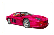 Italian Sports Cars Prints - 1995 Ferrari F-512M Russo Print by Jack Pumphrey