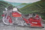 Harley Davidson Paintings - 1995 Harley Road King by Rick Spooner