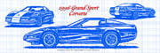 Corvette Art Print Digital Art - 1996 Grand Sport Corvette Blueprint by K Scott Teeters