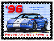 Corvette Postage Stamps Series - 1996 Grand Sport Corvette by K Scott Teeters