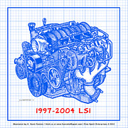 Corvette Engine Blueprints - 1997 - 2004 LS1 Corvette Engine Blueprint by K Scott Teeters