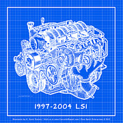 Corvette Drawings - 1997 - 2004 LS1 Corvette Engine Reverse Blueprint by K Scott Teeters
